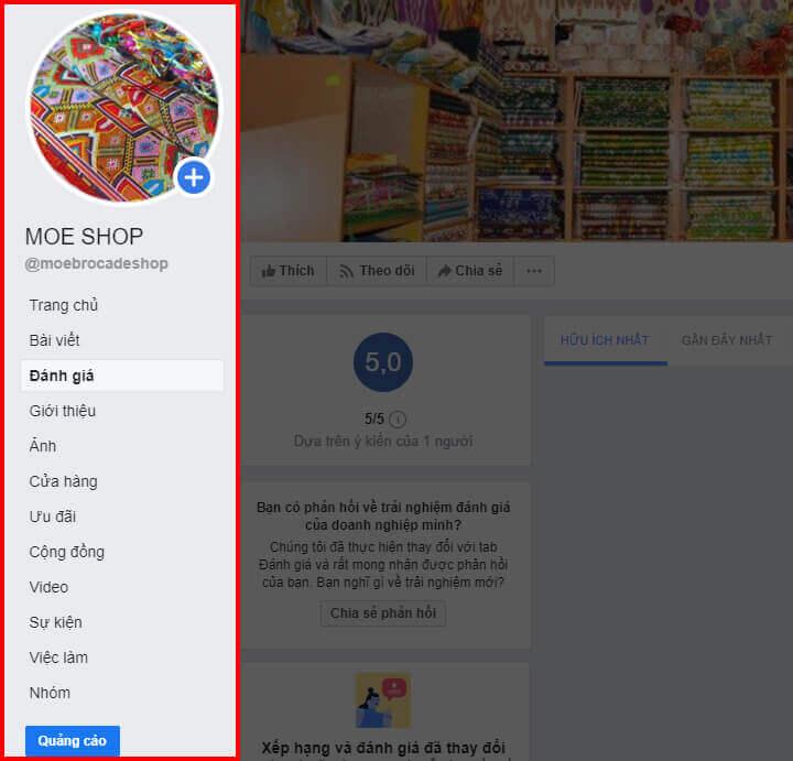 Menu dọc của Fanpage Facebook