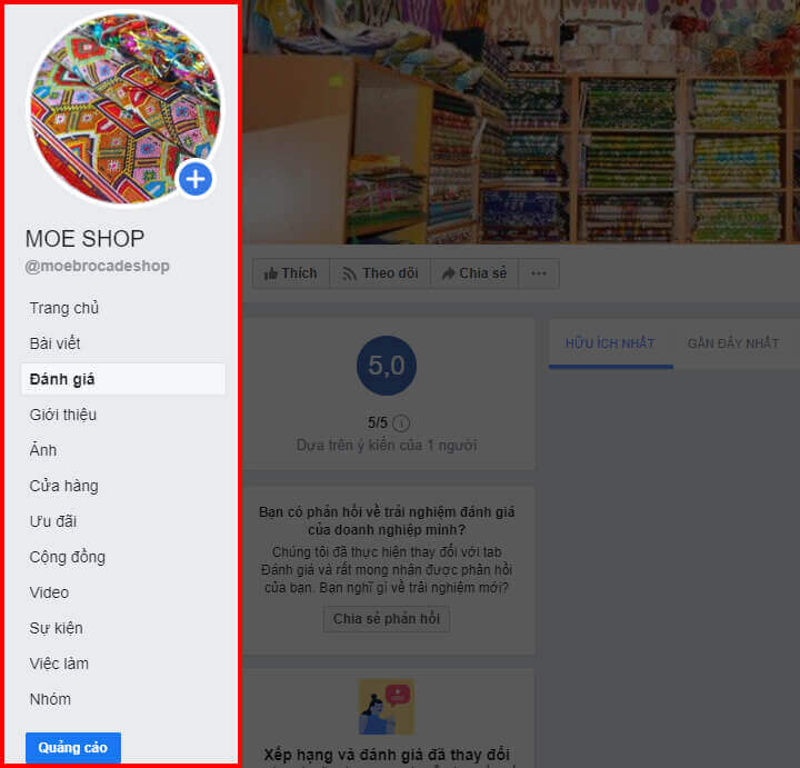 Menu dọc của trang fanpage facebook