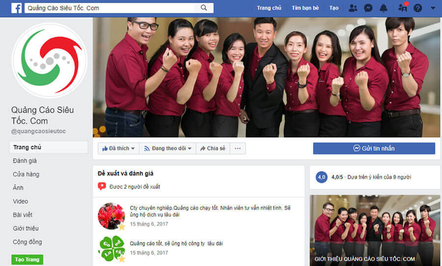 Minh họa trang Fanpage Facebook