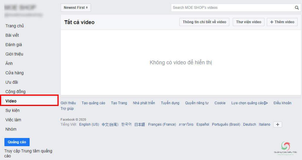 Tính năng quản lý video của Fanpage