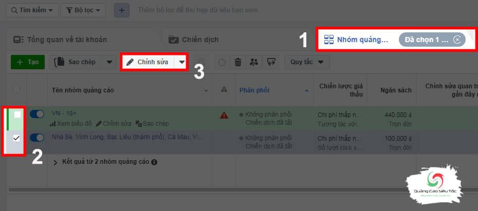 Cách chỉnh sửa nhóm quảng cáo Facebook
