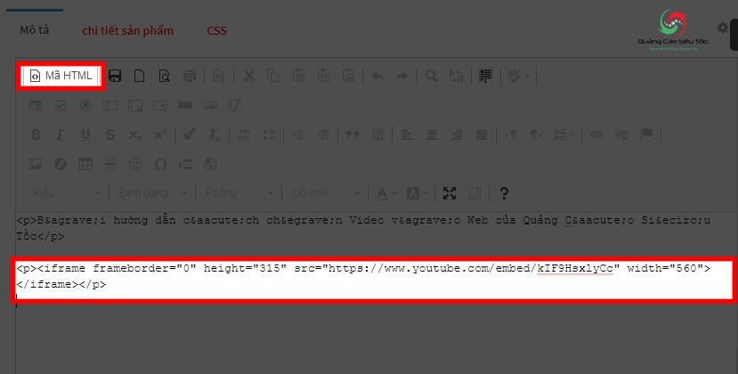 Chèn code video Youtube vào HTML của Website