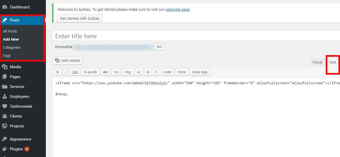Chèn code video Youtube cần nhúng vào mục Text của Website