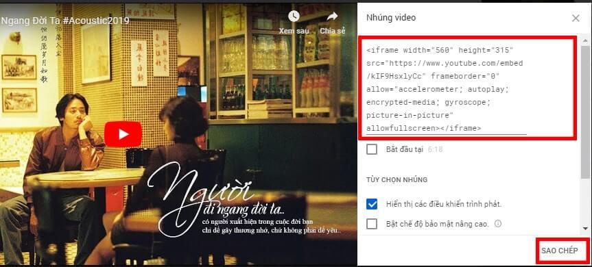 Copy đoạn code chèn video Youtube vào Web