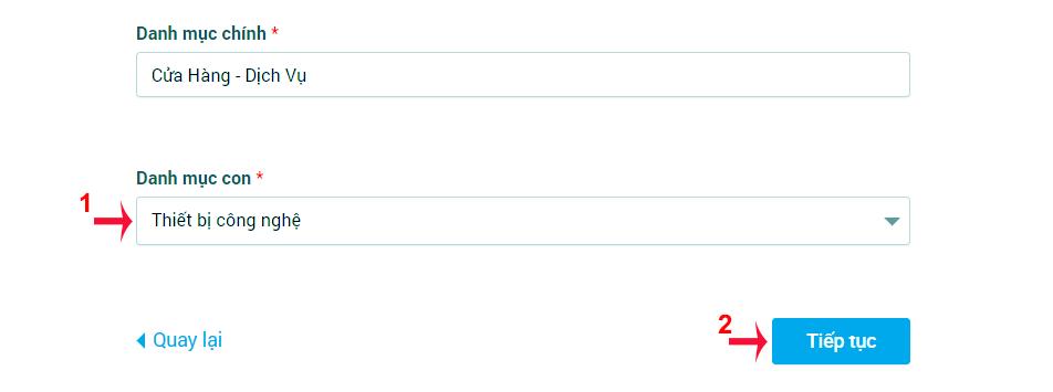 chọn danh mục con zalo page