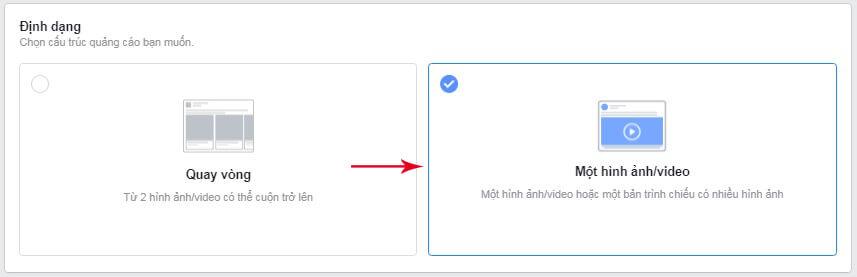 chọn định dạng quảng cáo messenger