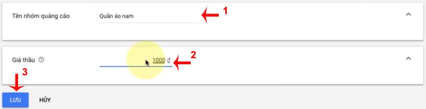 chọn giá thầu quảng cáo google shopping