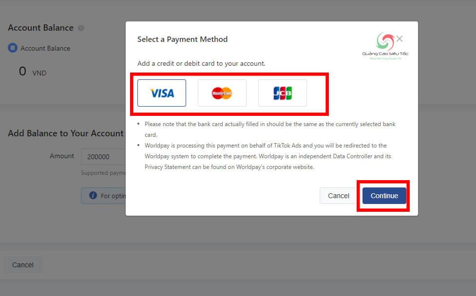 Chọn phương thức thanh toán tiền quảng cáo Tik Tok bạn muốn sử dụng