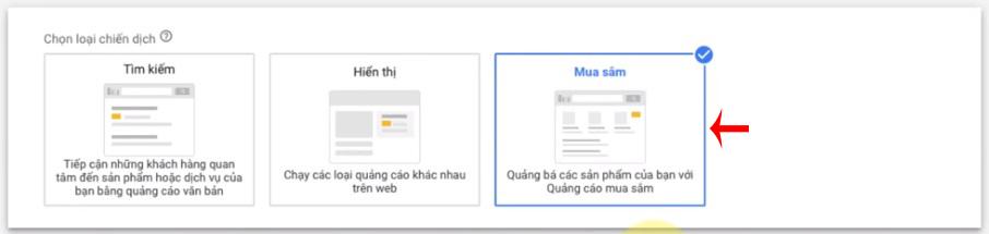 chọn mục tiêu chiến dịch google shopping