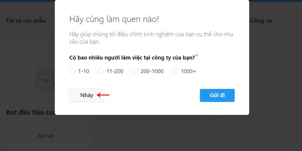 chọn số nhân viên chatfuel