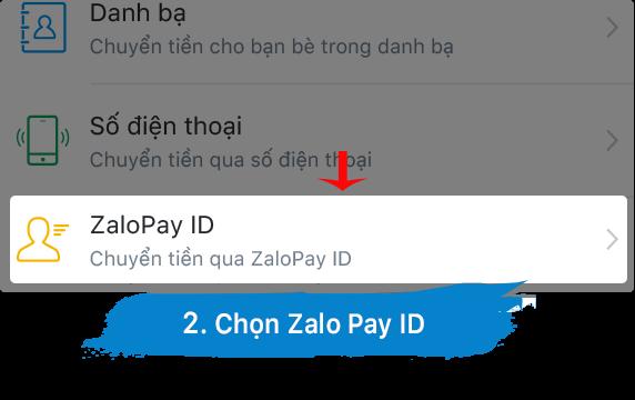 chọn zalopay id