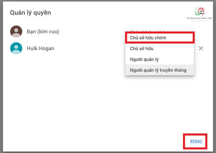 Cấp quyền Chủ Sở Hữu Chính kênh Youtube cho Gmail mới