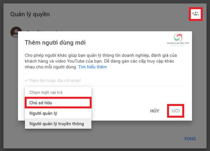 Cấp quyền sở hữu tài khoản Youtube cho Gmail mới