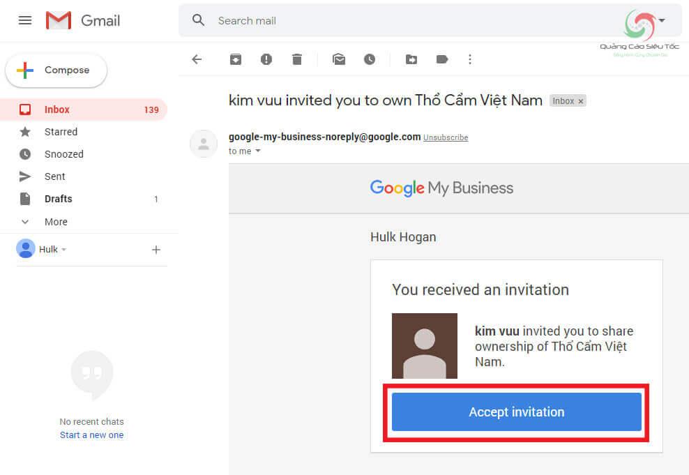 Chấp nhận lời mời sở hữu kênh trong mail