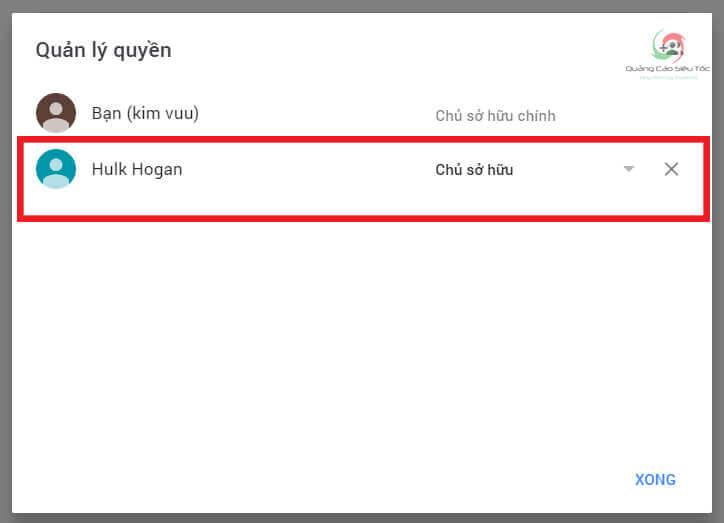 Chủ sở hữu kênh được cấp cho Gmail mới thành công