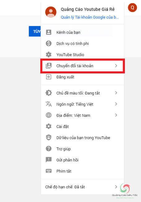 Tùy chọn chuyển đổi tài khoản Youtube
