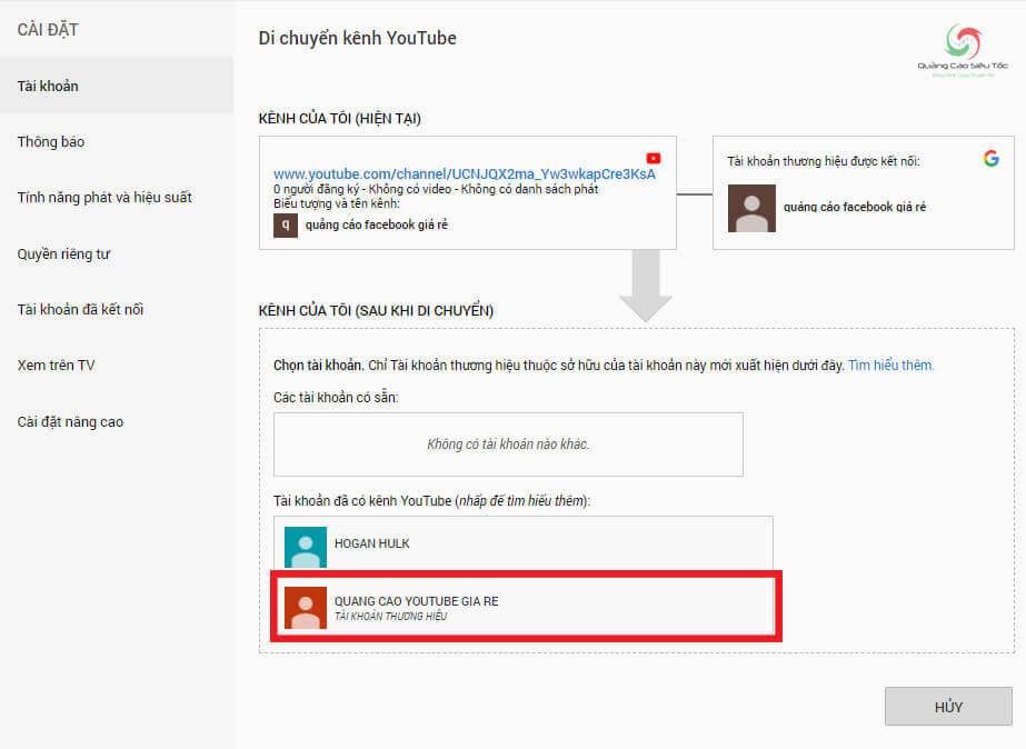 Nhấp vào kênh Youtube thương hiệu vừa tạo mới