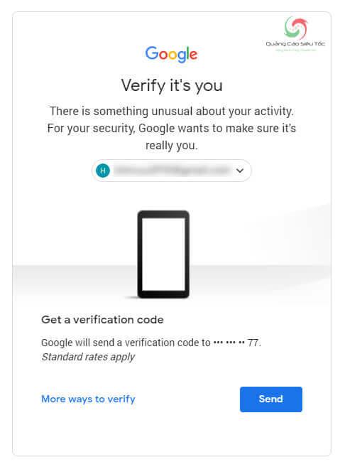 Nhập mã để xác nhận quyền sở hữu tài khoản Youtube