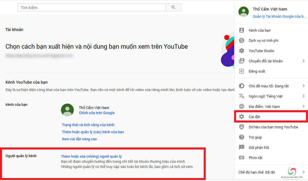 Kiểm tra kênh Youtube thuộc tài khoản chính hay tài khoản thương hiệu