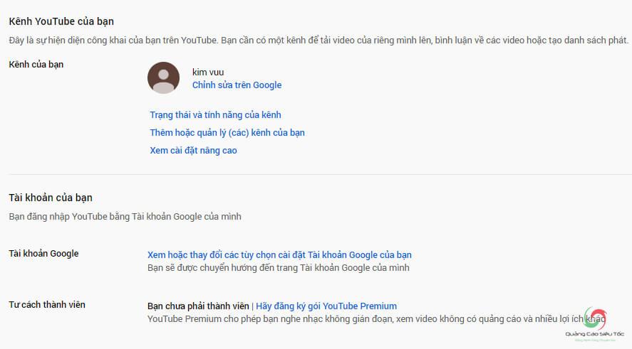 Minh họa kênh Youtube được tạo từ tài khoản chính