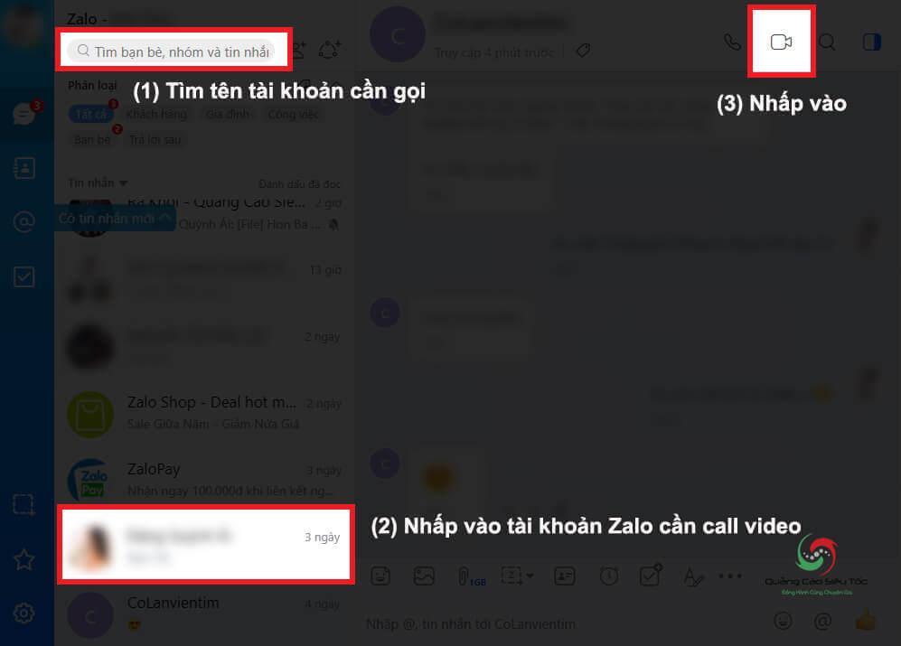 Call Video trên Zalo phiên bản máy tính