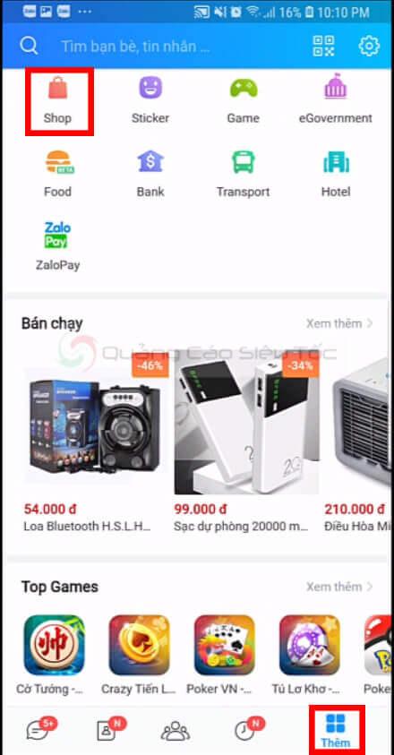 Cách truy cập Zalo Shop trên app điện thoại
