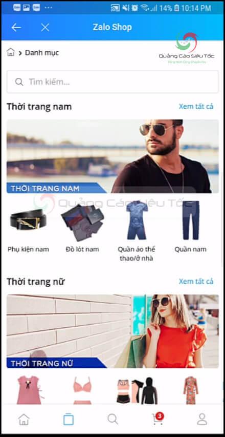 Giao diện Shop Zalo trên điện thoại
