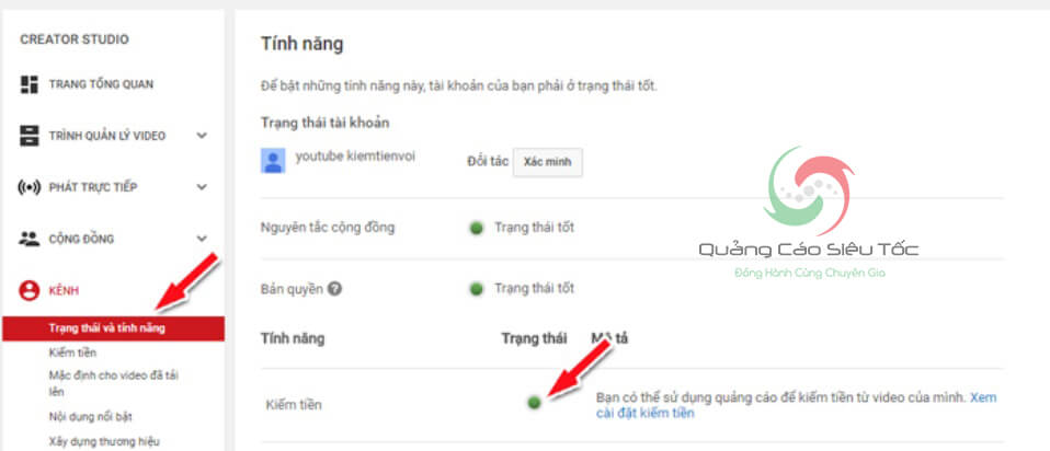 đăng ký adsense Youtube
