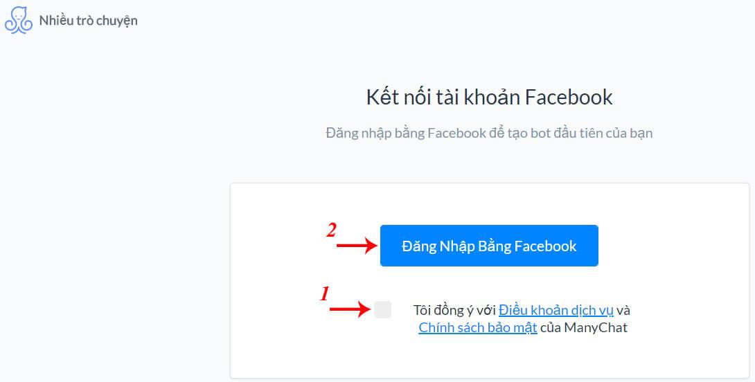 đăng nhập manychat bằng facebook