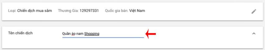 đặt tên chiến dịch google shopping