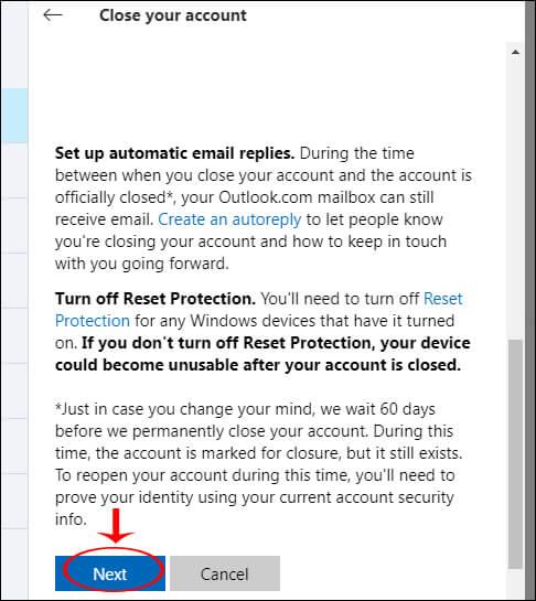 delete account skype