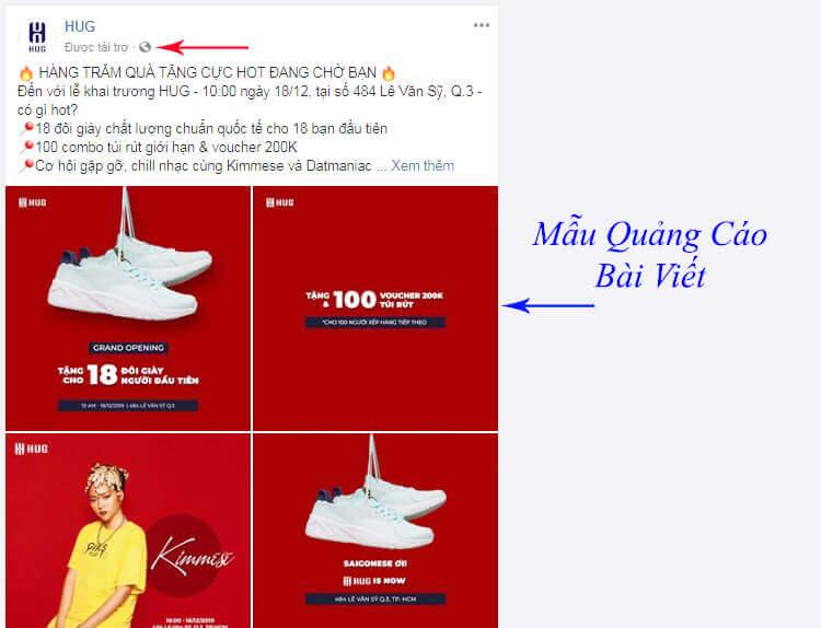 quảng cáo bài viết facebook