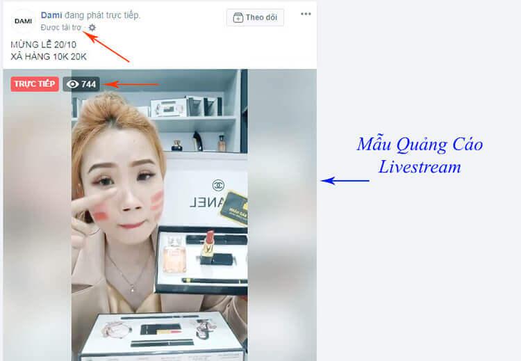 quảng cáo livestream facebook
