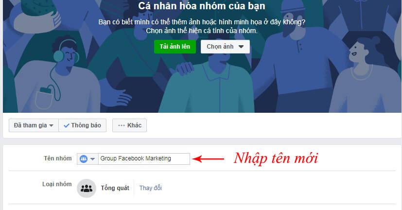 đổi tên nhóm trên facebook