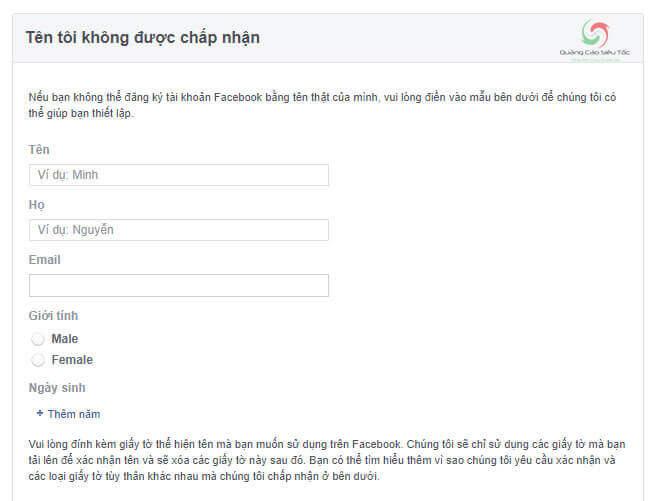 Nhập thông tin tài khoản vào trang khôi phục Facebook bị khóa