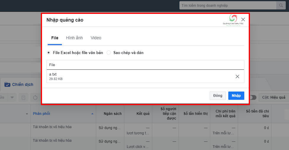 Tải file dữ liệu lên tài khoản quảng cáo Facebook mới