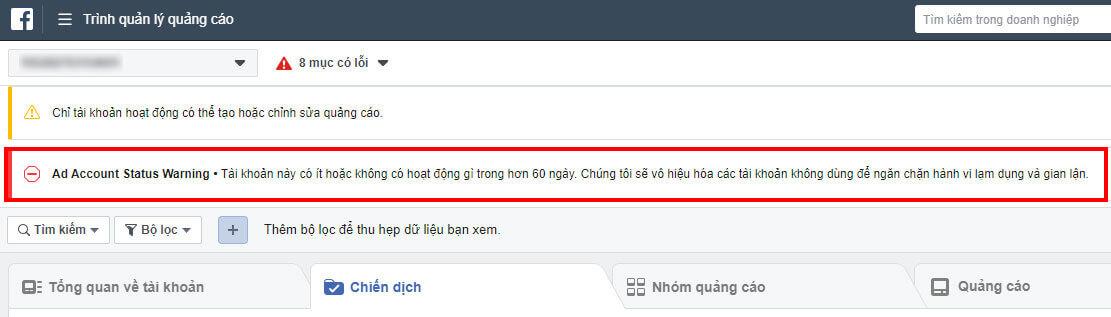 Tài khoản quảng cáo facebook không hoạt động 60 ngày sẽ bị vô hiệu hóa