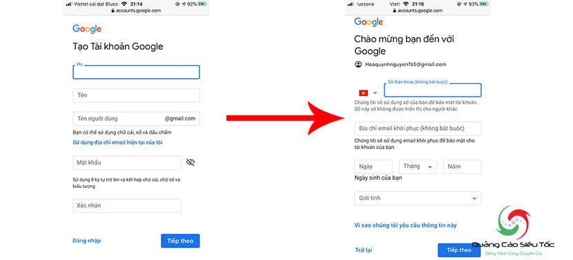 tạo gmail cá nhân