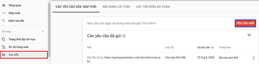 xóa index google