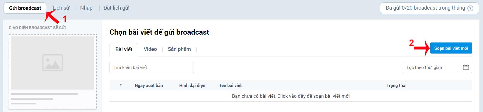 gửi broadcast zalo