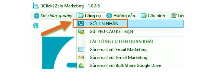 gửi tin nhắn bằng phần zalo marketing iclick