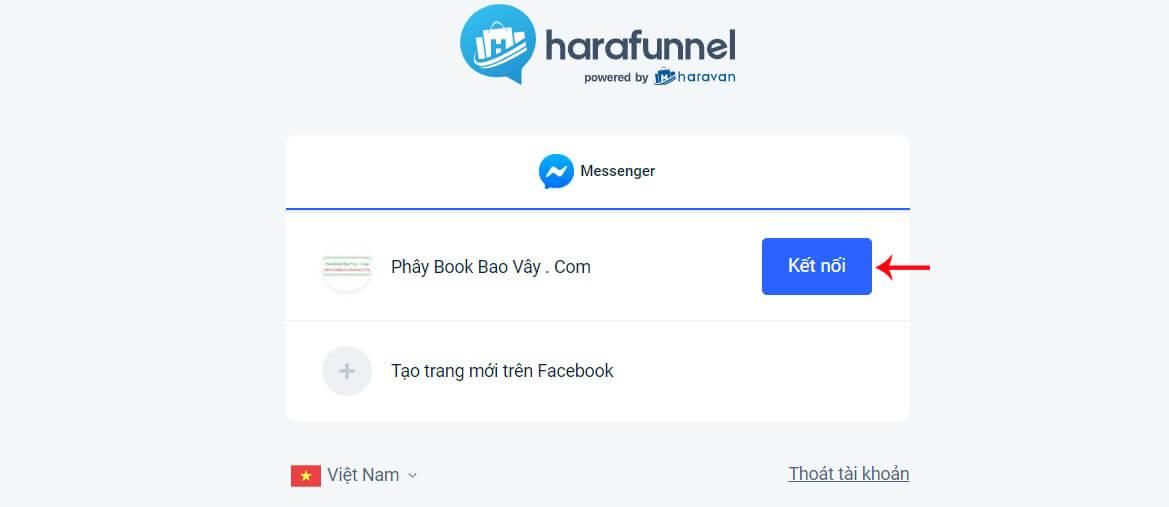 kết nối fanpage với haravan chatbot