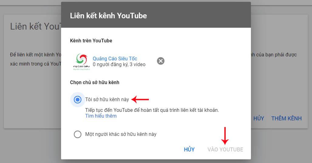 kết nối kênh youtube với tài khoản google ads