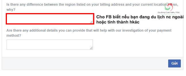 Hoàn tất khiếu nại lỗi phương thức thanh toán Facebook bị treo