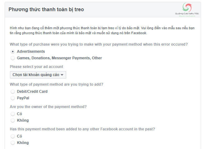 Khiếu nại phương thức thanh toán bị treo của Facebook
