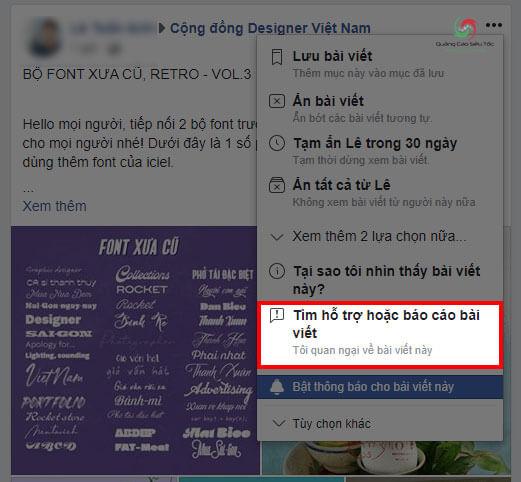 Cách Report bài viết trên Newfeed Facebook