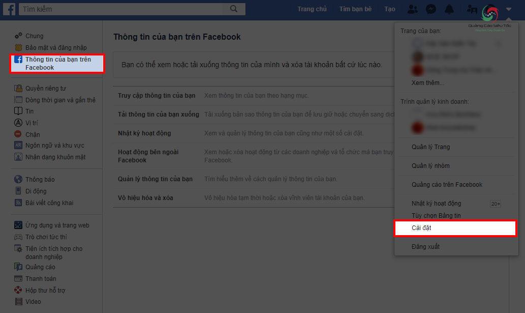 Truy cập mục Thông Tin Của Bạn Trên Facebook để khóa tài khoản