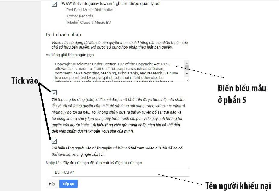 Cách điền vào biểu mẫu kháng cáo bản quyền Youtube
