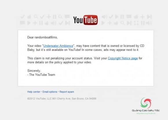 Mail thông báo vi phạm bản quyền nội dung Youtube