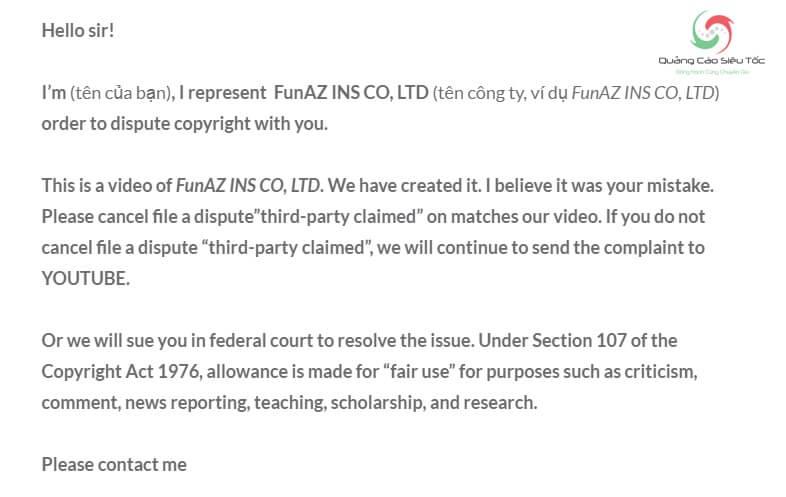 Mẫu kháng cáo bản quyền Youtube nếu video thuộc sở hữu công ty
